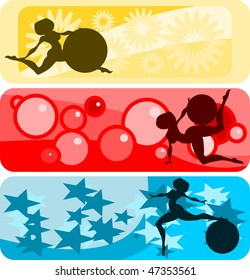 Vector illustration:set of horizontal banners with girls and gymnastic balls silhouettes against abstract backgrounds.