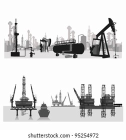 Vector illustration.Silhouettes of an oil refinery and  wells.Sea platform