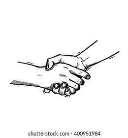 Vector illustration.Sketch handshake, vintage shaking hands
