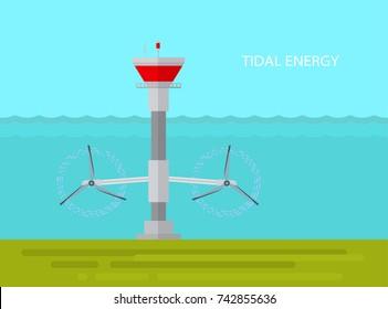 Vector illustration.Tidal power station. Alternative energy