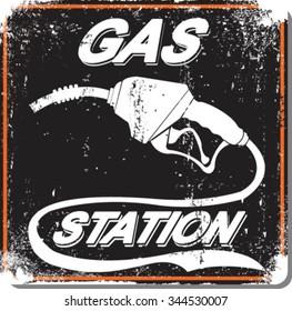 Vector illustration.Vintage gas station and cafe sign.