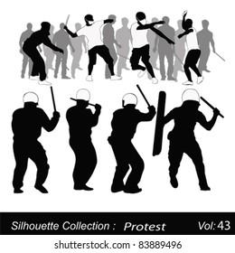 Vector illustration.Violent protest