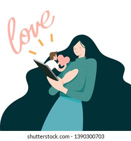 Vector Illustration,Woman receive love message on mobile phone