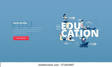 Vector illustrative hero banner of education process. Educational hero website header with young men and women characters around word 'education' over digital world map