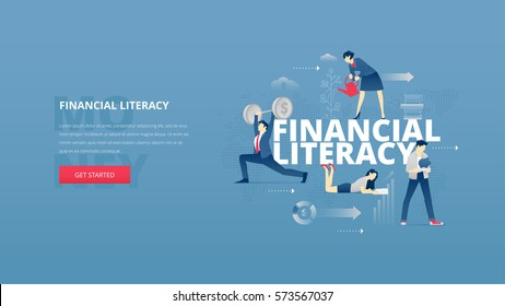 Vector illustrative hero banner of financial education. Educational hero website header with young men and women characters around word 'financial literacy' over digital world map