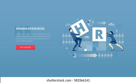 Vector illustrative hero banner of HR. Human resources hero website header with young men and women characters placing letters 'H' and 'R' together over digital world map