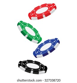 Vector illustraton of red, blue, green and black falling poker chips. Casino chips
