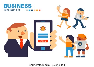 Vector Illustrator Businessman Holding Sign in Screen on Smartphone and Showing for People.