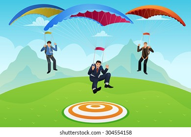 A vector illustrator businessmen with a parachute landing on a target
