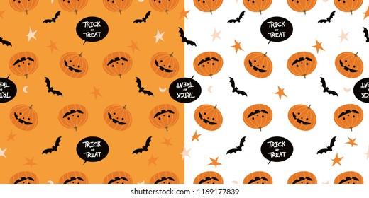 Vector Illustrator, Cartoon pumpkins halloween 2  pattern background