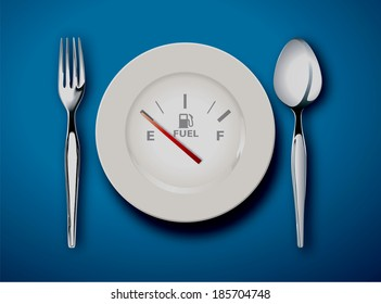 vector illustrator  of the fork and spoon with white plate on blue background,  food is fuel concept