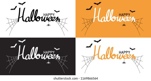 Vector Illustrator, Happy halloween brush pen lettering and calligraphy 4 styles