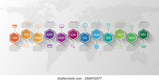 vector illustrator Infographic Timeline design with icons 12 Months Infographics for business concept.