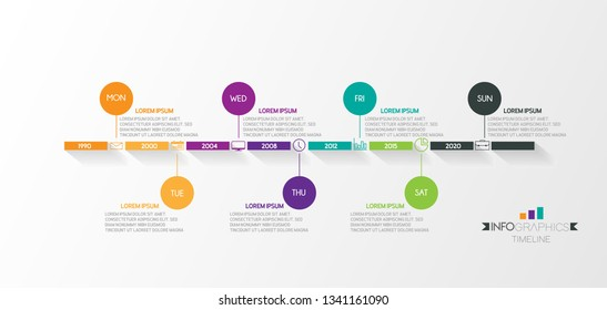 vector illustrator Infographic Timeline design with icons weekly Infographics for business concept.