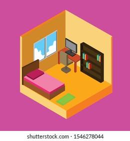 Vector illustrator Isomatric bedroom in house