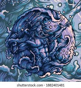 Vector Illustrator of Neptune Gods