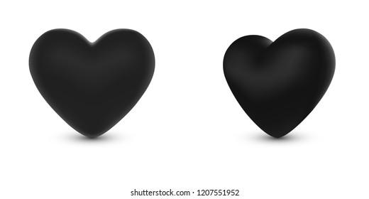 Vector Illustrator, Two black hearts mesh gradient