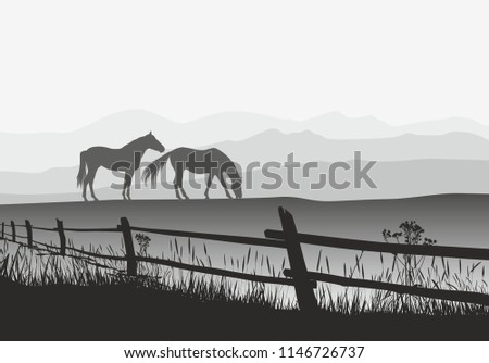 Vector illustroation horses on meadow with fence