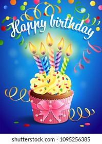 Vector illustrtion - birthday card with cupcake and candles
