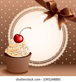 Vector illustrtion - vintage background with cupcake and bow