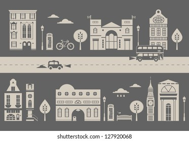 Vector ilustration of a cute slylized street