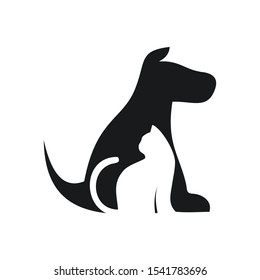 Vector ilustration of a dog and cat on white background