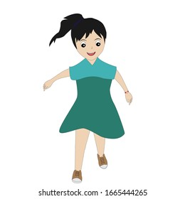 vector ilustration of a girl wearing a dark green dress who is walking