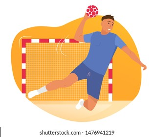 Vector ilustration - handball player. Ball, game, poster for site or poster