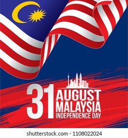 Vector Ilustration of Malaysia INDEPENDENCE DAY and Malaysia flag