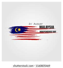 Vector Ilustration of Malaysia INDEPENDENCE DAY and Malaysia flag translation (31 ogos selamat hari merdeka)