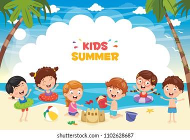 Vector Ilustration Of Summer Kids