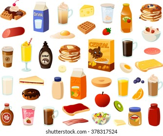 Vector ilustration of various breakfast items.