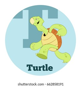 Vector image of the ABC Cartoon Turtle