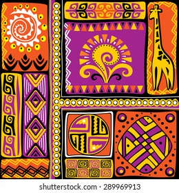 vector image with african design elements and ornament