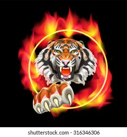 Vector image of an aggressive tiger jumping through a burning ring.