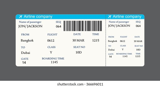 Vector image of airline boarding pass ticket with QR2 code.Vector illustration.