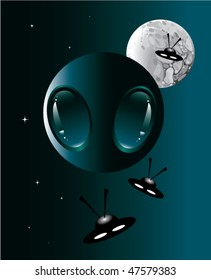 vector image of alien head in space