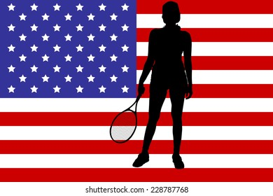 Vector image of the American flag as a background.