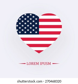 Vector image of American flag in heart
