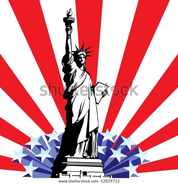 Vector Image American Symbols Freedom Statue Stock Vector ...