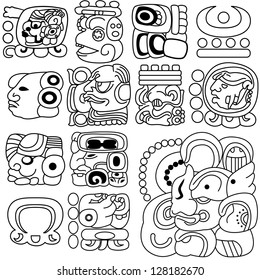 Vector image of ancient Mayan hieroglyphs on white