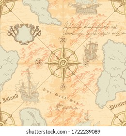 vector image of ancient navigational map sea routes of medieval ships