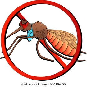 Vector image of angry mosquito crossed. The logo or symbol of the fight against harmful insects