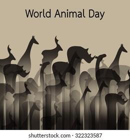 Vector image of an animal groups. Wildlife. World Animal Day