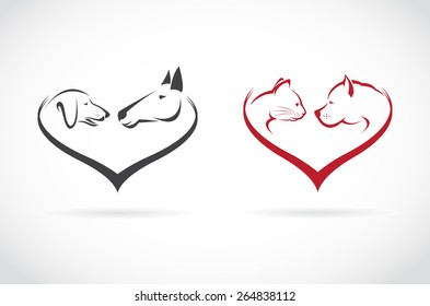 Vector image of animal on heart shape on white background, horse-dog-cat