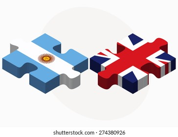 Vector Image - Argentina and United Kingdom Flags in puzzle isolated on white background