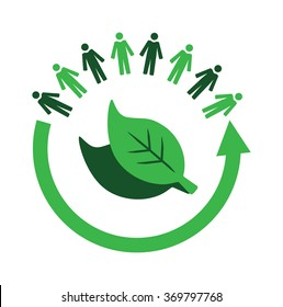 Vector image of an arrow and people circling leaves