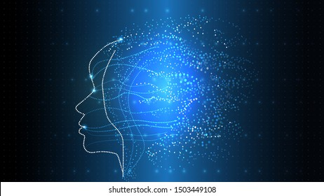 Vector image of artificial intelligence in the form of a luminous human head. EPS 10