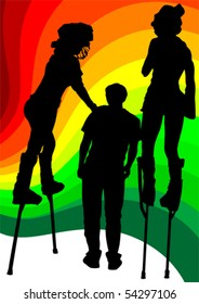 Vector image of artists on stilts on the colored background