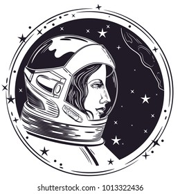 Vector image of an astronaut woman.